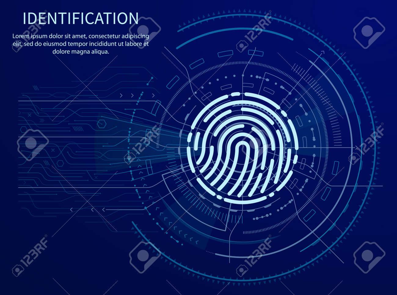 Identification Fingerprint Poster Illuminated Data - 116328260