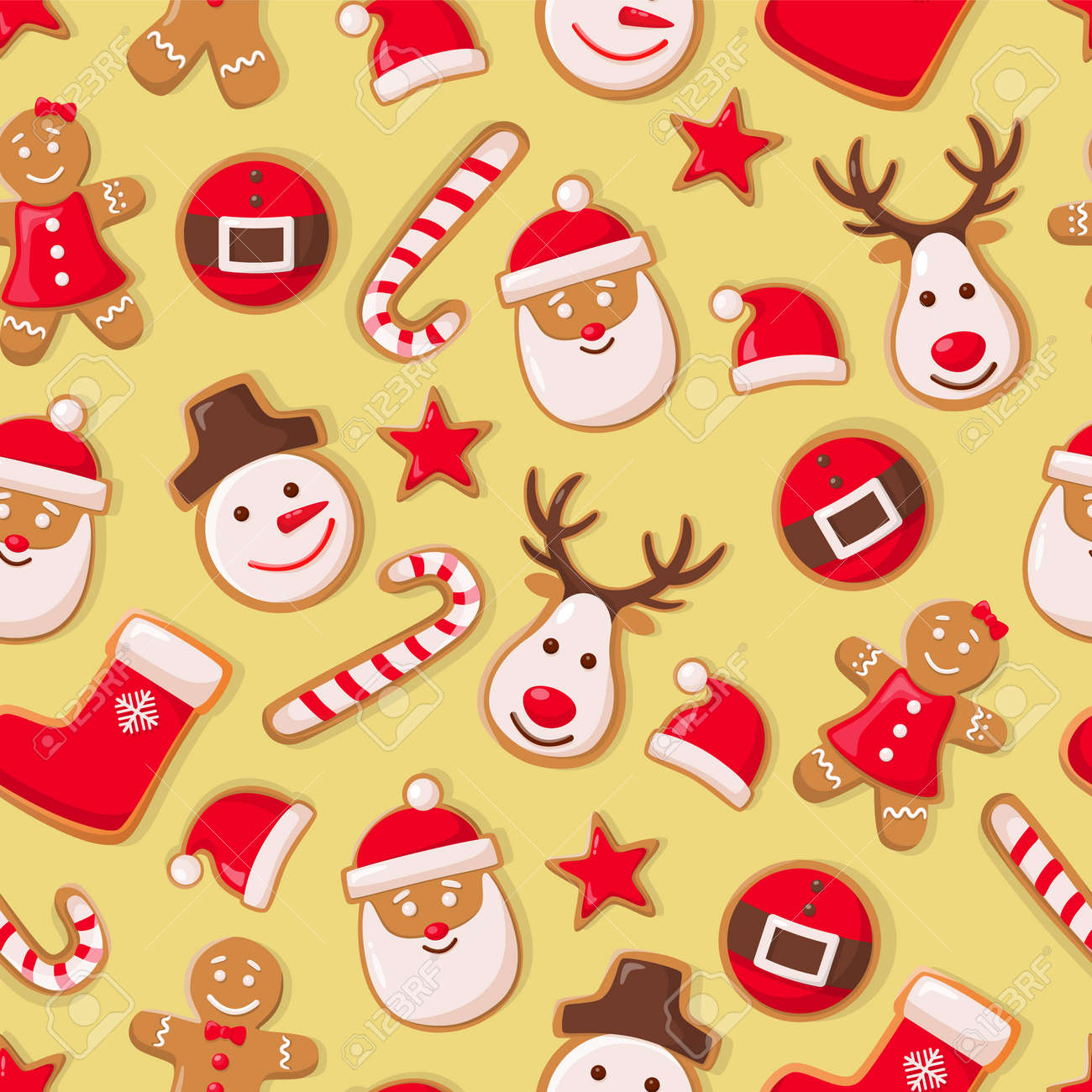 Gingerbread man cookies and Santa Claus candy seamless pattern vector. Christmas symbols winter holiday celebration, sock and hat, star and reindeer - 116762445