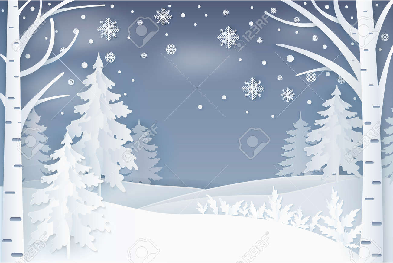 Forest, snowflakes and hills at night vector. Winter nature, falling snow and decorated fir-trees with birches on snowy landscape, Christmas noel card, paper art and craft style - 125692427