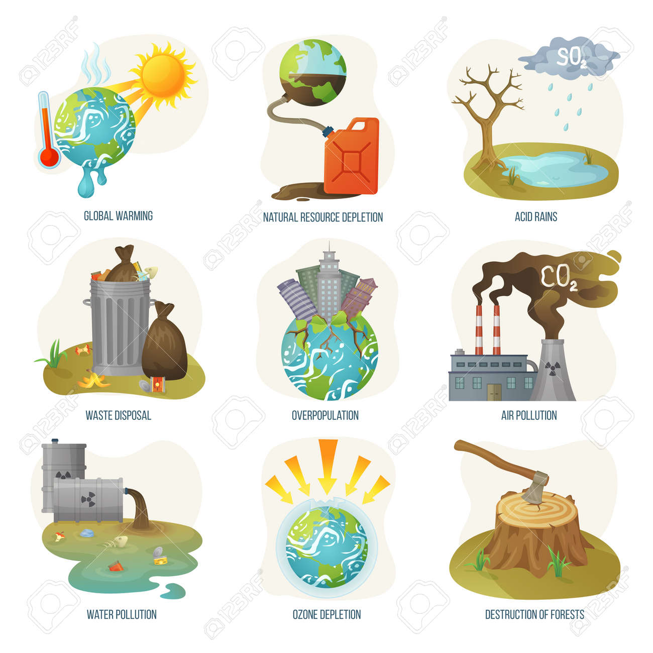 Global warming natural resource depletion problems vector. Waste disposal, air and water pollution, ozone layers and deforestation destruction forests. Environment problematic in flat style - 125493794
