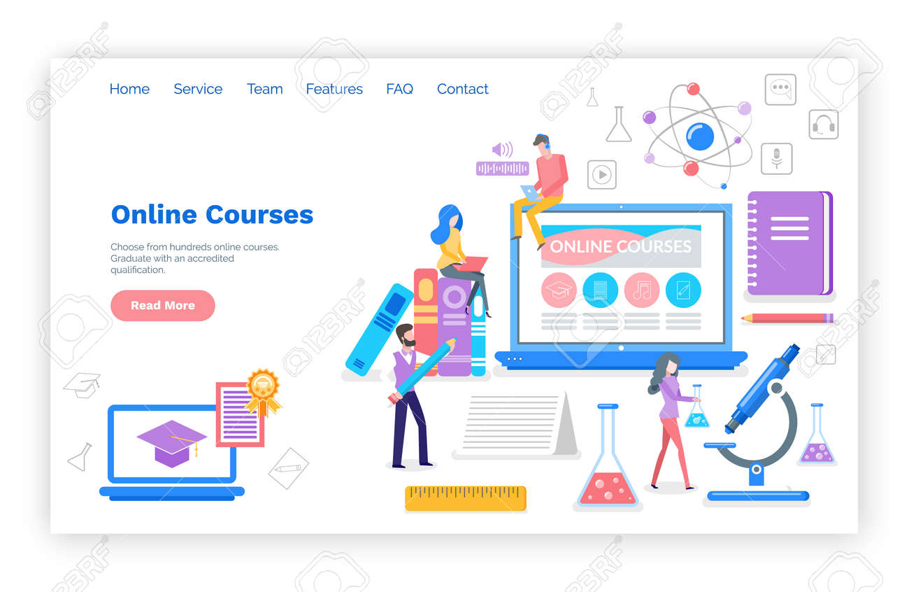 Online courses people learning subjects in internet vector. Students with certificate, busy reading and reviewing material for exams. Microscope and book. Website webpage template landing page in flat - 116764637