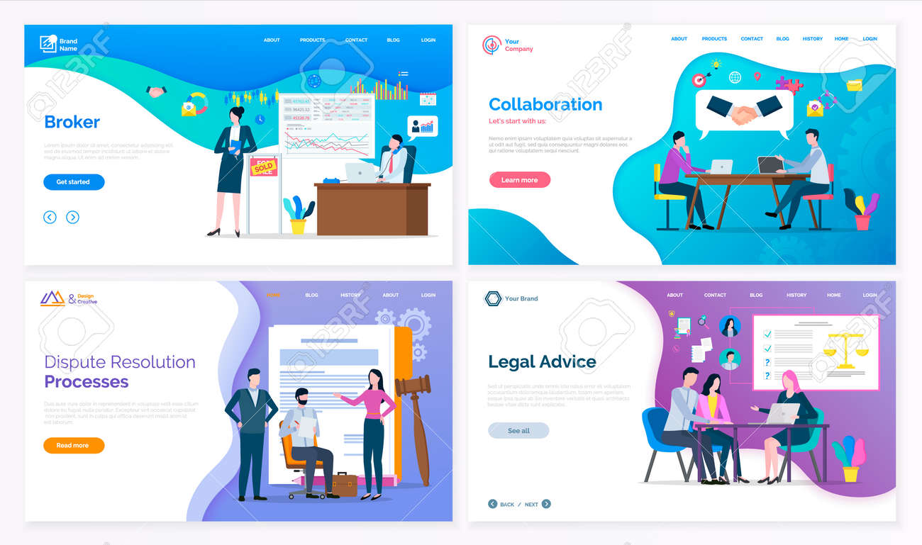Broker and collaboration, dispute resolution processes and legal advice vector. Lawyer and judicial workers, graphics and laws on presentation board. Website or webpage template, landing page in flat - 125301538