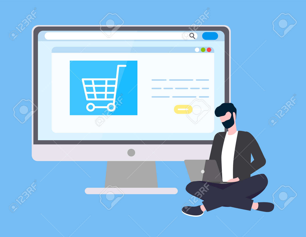 Online Internet shopping and technical support vector  Man with