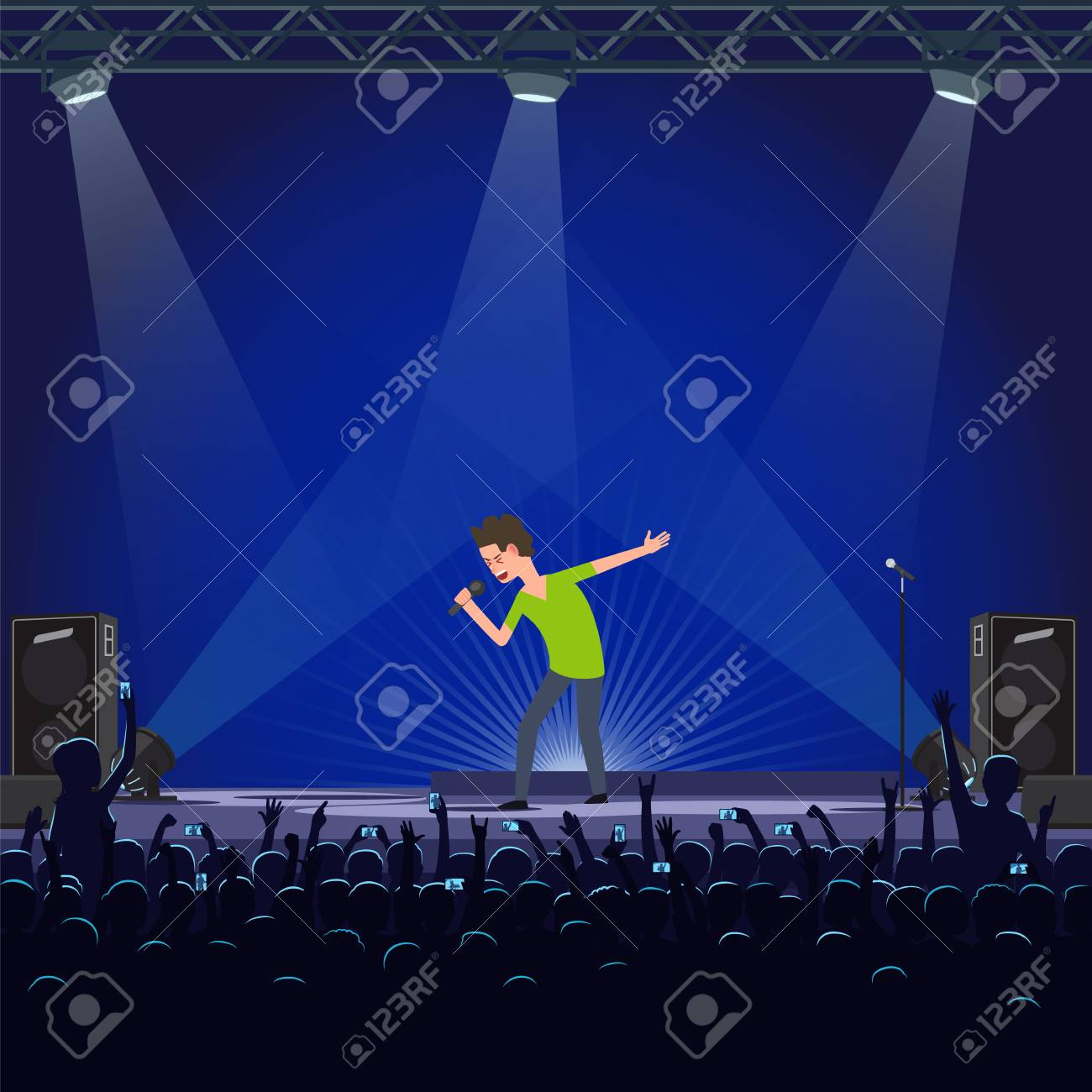 Music performance emotional concert singer vector  Crowd of fans
