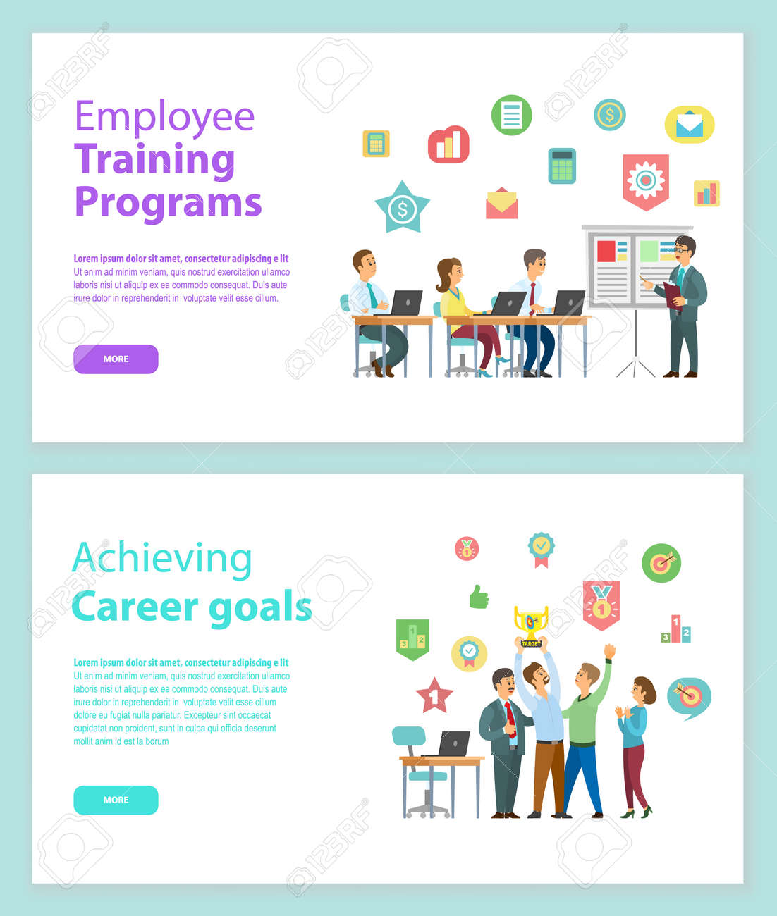 Employee training programs and achieving career goals web pages vector. People working with laptop and discussing strategy, workers holding award vector - 125270978