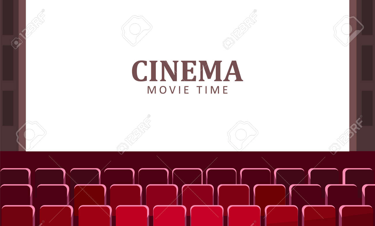 Cinema hall with wide screen and red rows of seats vector. - 117269912