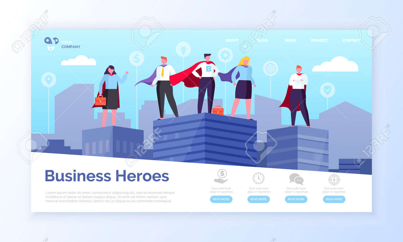 Entrepreneurs in hero coats, business heroes webpage vector. - 117269927