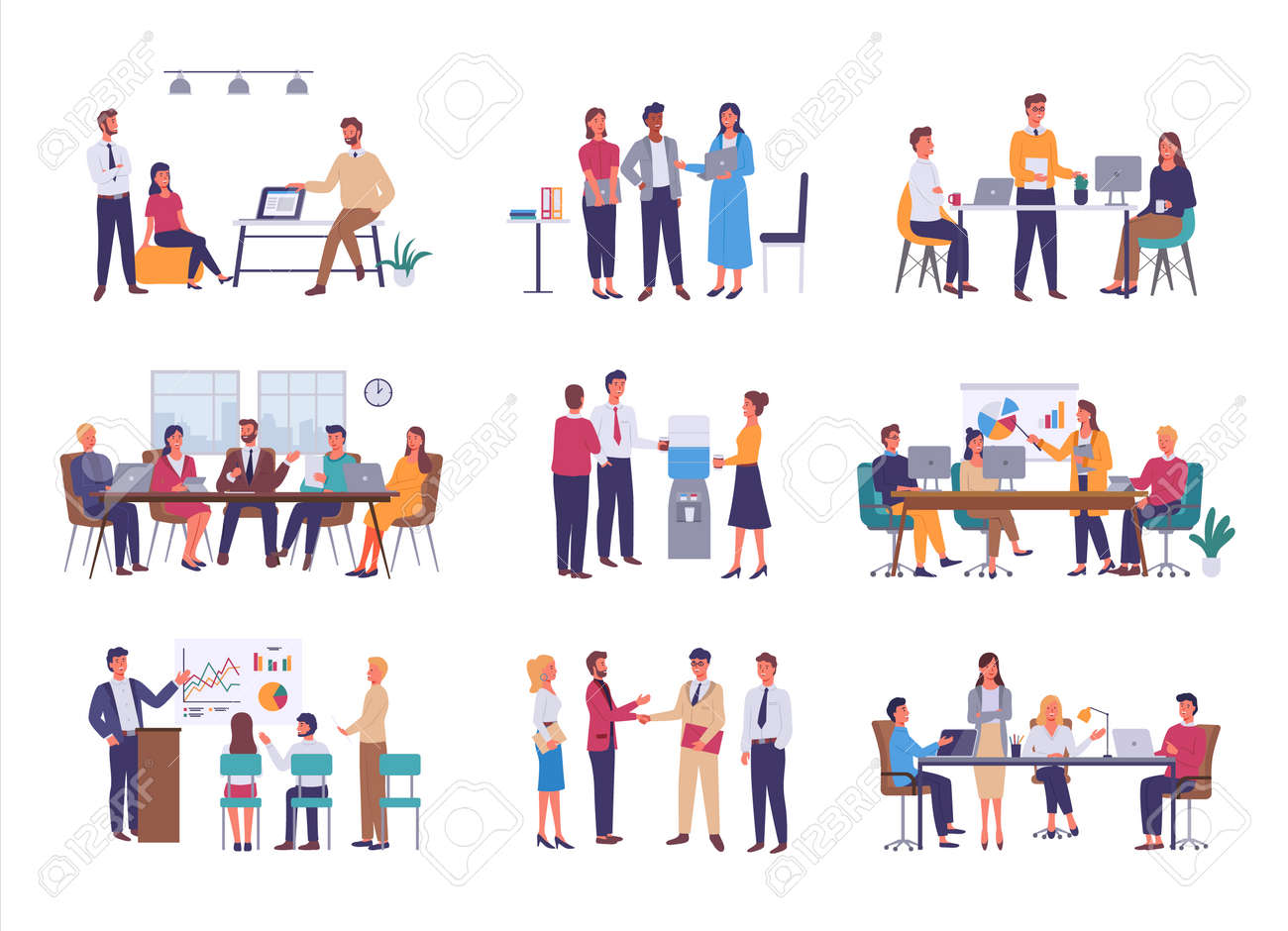 Teamwork or team building, office business meeting vector. Conference and brainstorming, annual report and statistics graphics, discussion and planning in flat style - 116928142