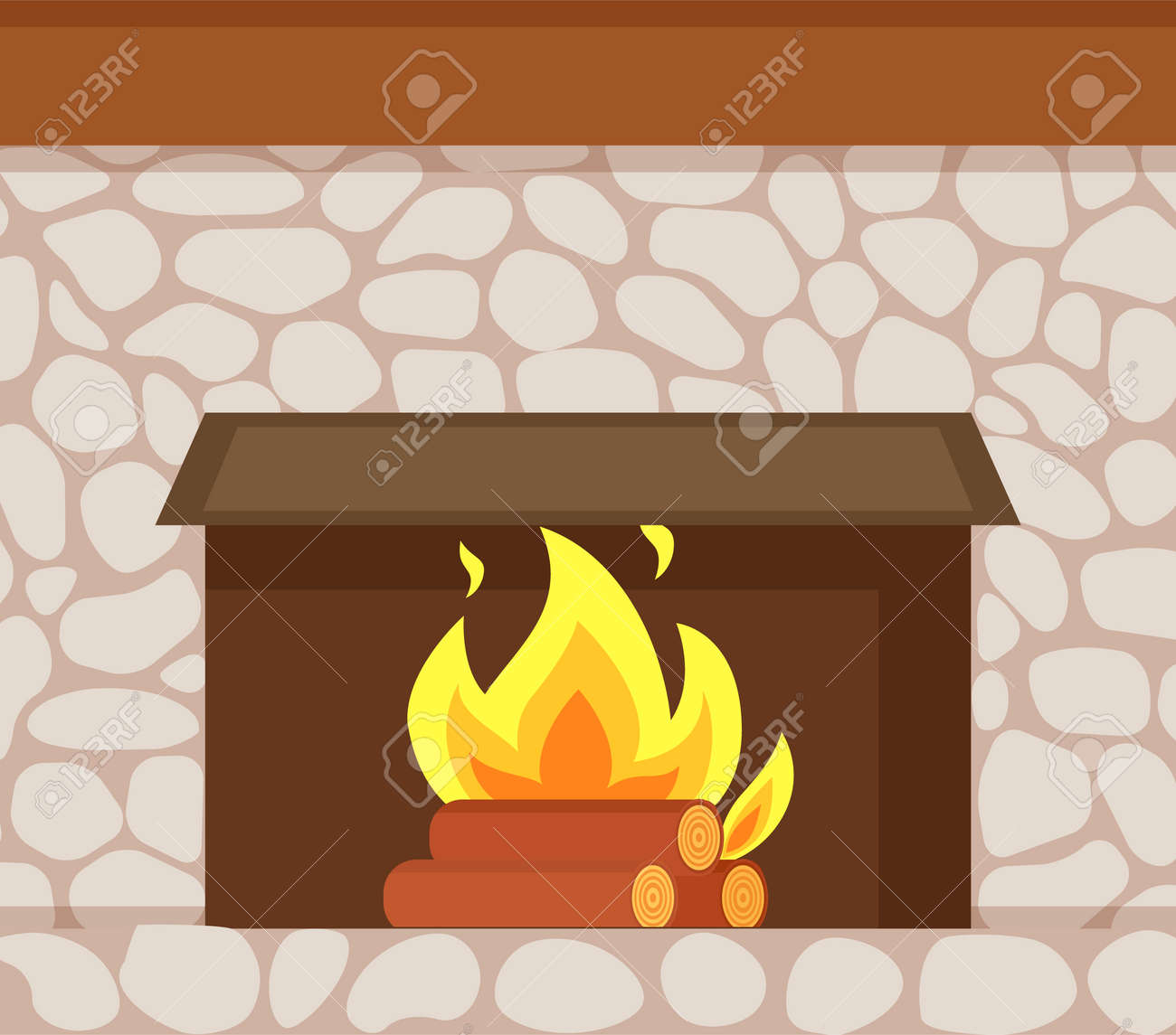 Excellent Burning Fire Wooden Logs And Fireplace Made Of Stone Closeup Home Interior And Landscaping Synyenasavecom