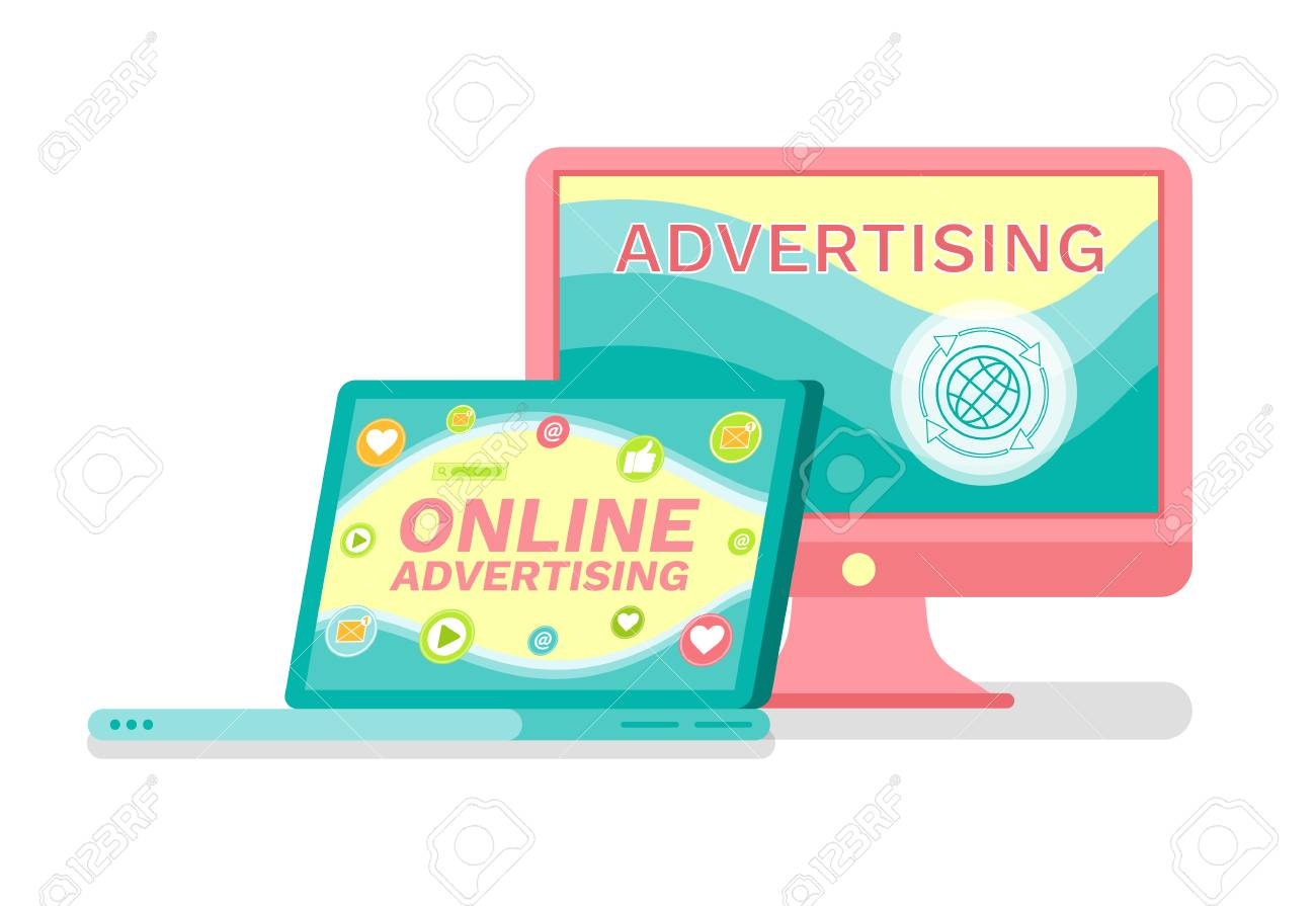 Laptop and computer, online advertising services vector  Promo