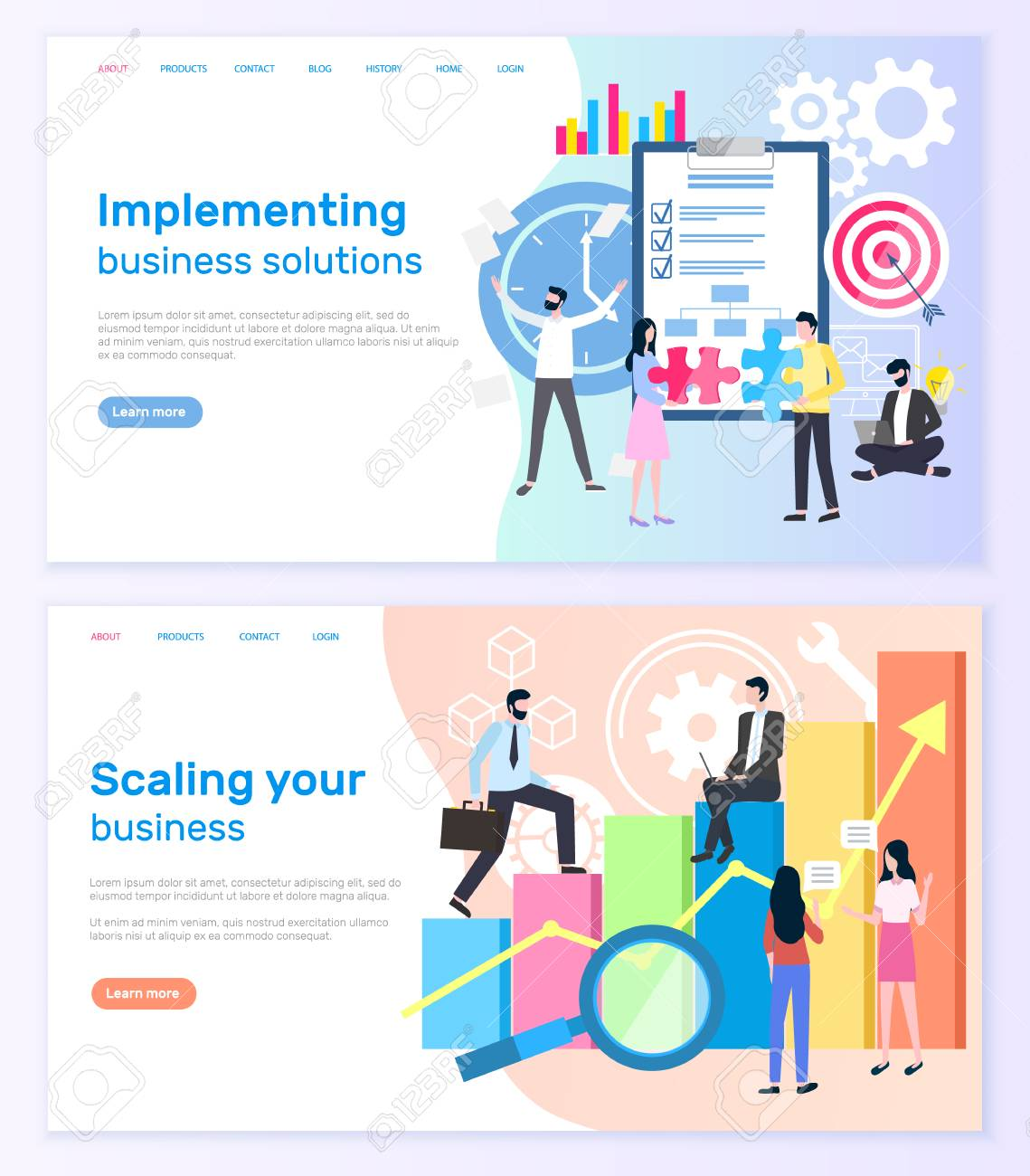 Implementing business solutions and scaling startup success vector. Notepad and target, graphic of financial growth, businessmen and businesswomen. Website or webpage template landing page in flat - 117228291
