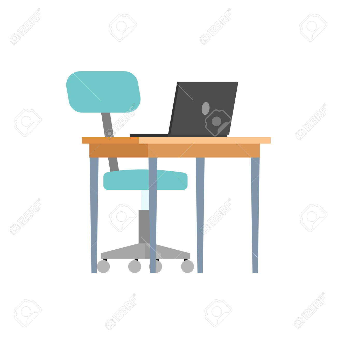 - Work Place, Computer Desk With Open Laptop, Office Chair On Wheels