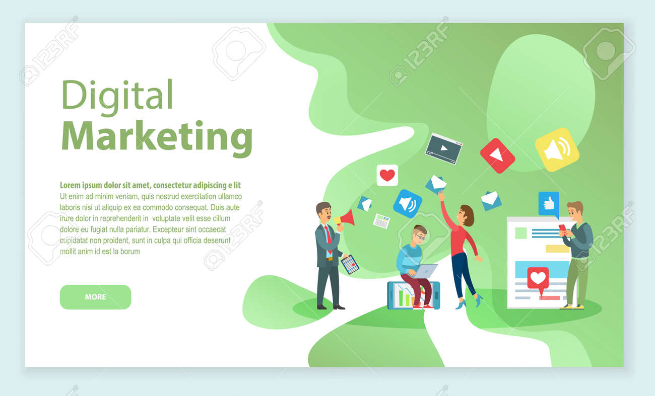 Boss with employees working on digital marketing and promotion vector. Web page with info, workers with laptop and gadgets, social media and videos - 117383201