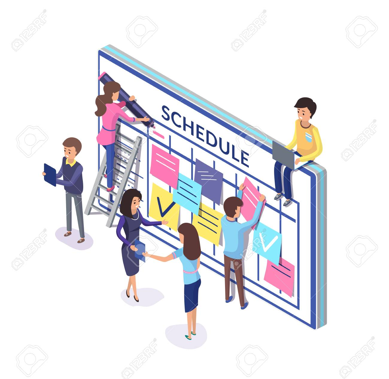 Planning of team, people with schedule and notes sticked to board. Workers organizing time vector. Memos for employees creating timetables on wall - 125057189