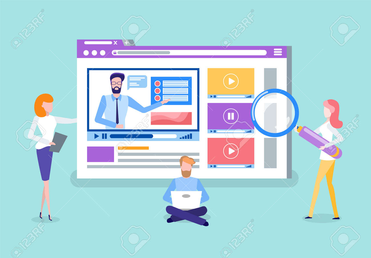 Workers analyzing website with tools vector. Tutoring video, online courses page with tutor. Man working on laptop, developing site for students users - 124935433
