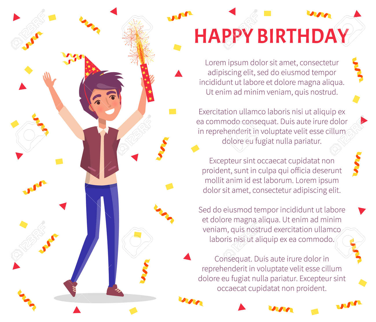 Magnificent Happy Birthday Invitation Card Man With Firework In Hand And Funny Birthday Cards Online Elaedamsfinfo