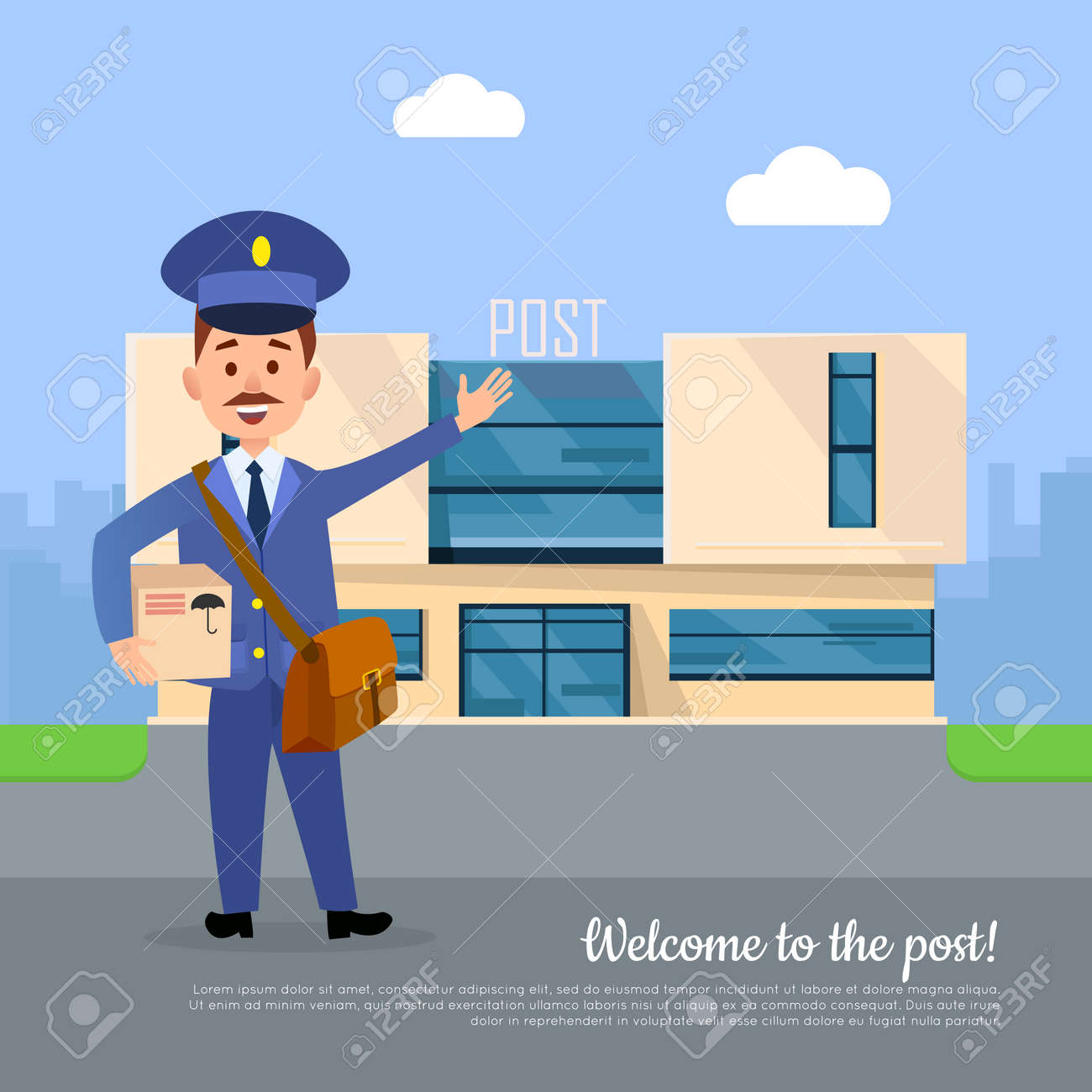 Welcome To The Post Web Banner Postman Pointing On The Post