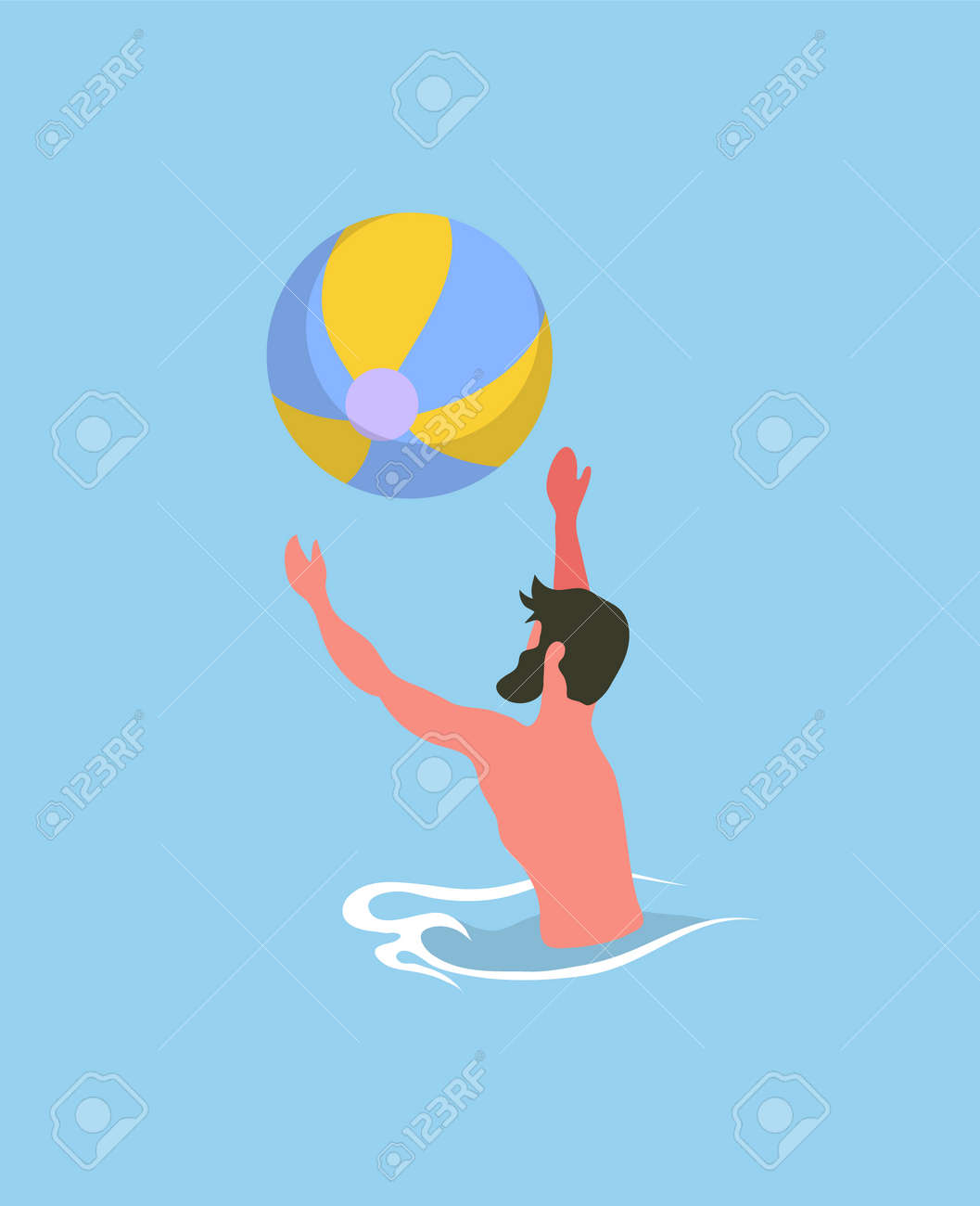 Man Playing Ball In Water Tossing And Catching Colorful Rubber