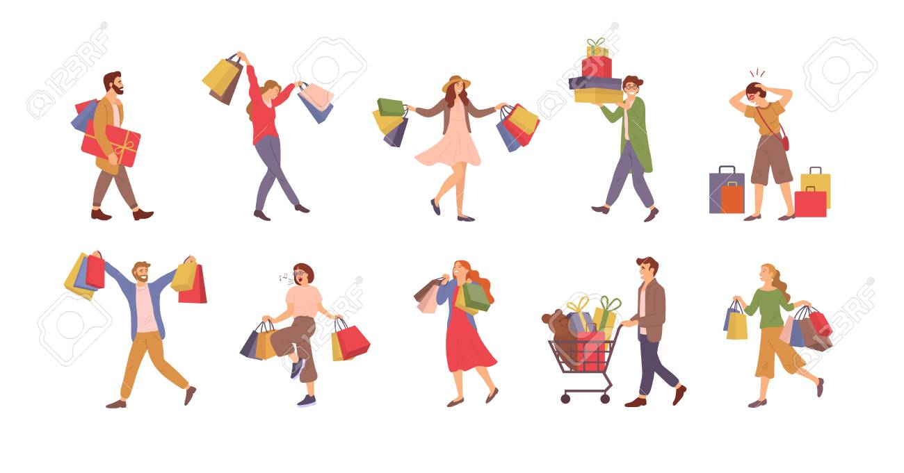Walking people with bags vector, shopping man and woman holding packages with presents. - 120471218