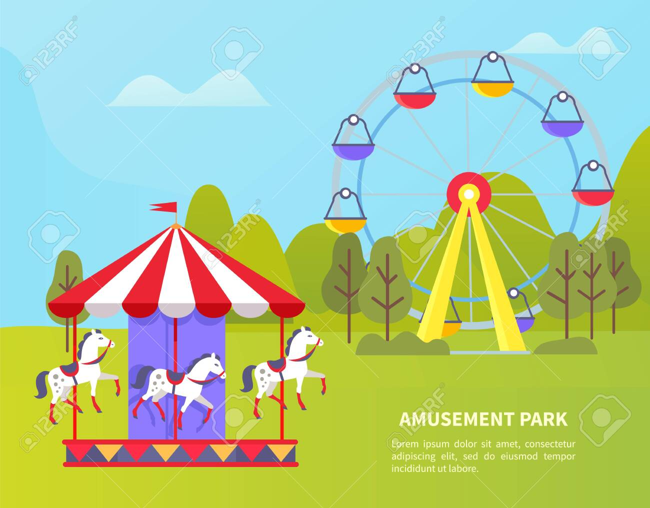 Carousel With Horses Vector Amusement Park For Kids And Adults Royalty Free Cliparts Vectors And Stock Illustration Image 123969328