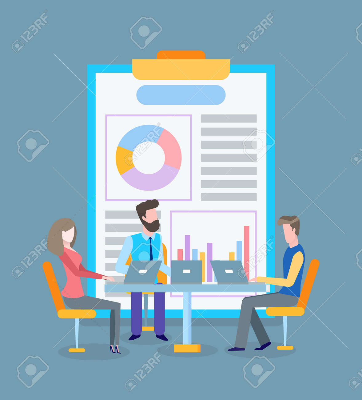 Infographics text and pie diagram at clipboard vector. Conference of workers with laptops, flowcharts brainstorming of colleagues, business seminar - 123529792