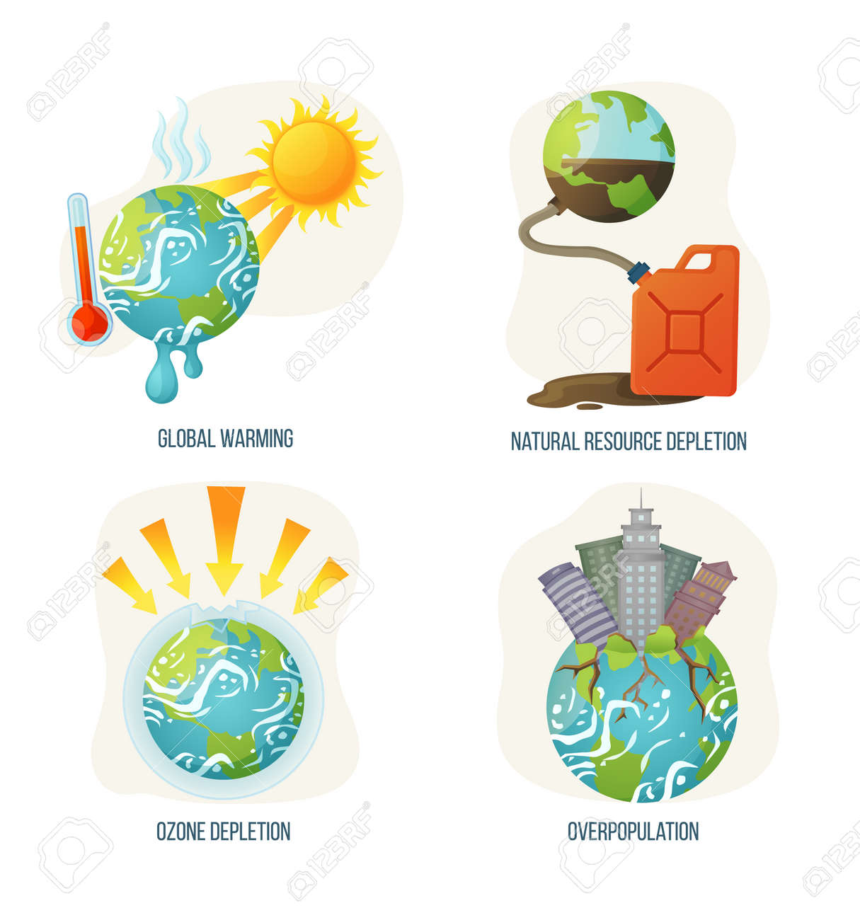 Global warming vector, ozone layer corruption, overpopulation planet with skyscrapers growing and rooting, natural resource depletion problems and issues. Concept for Earth day - 121295826