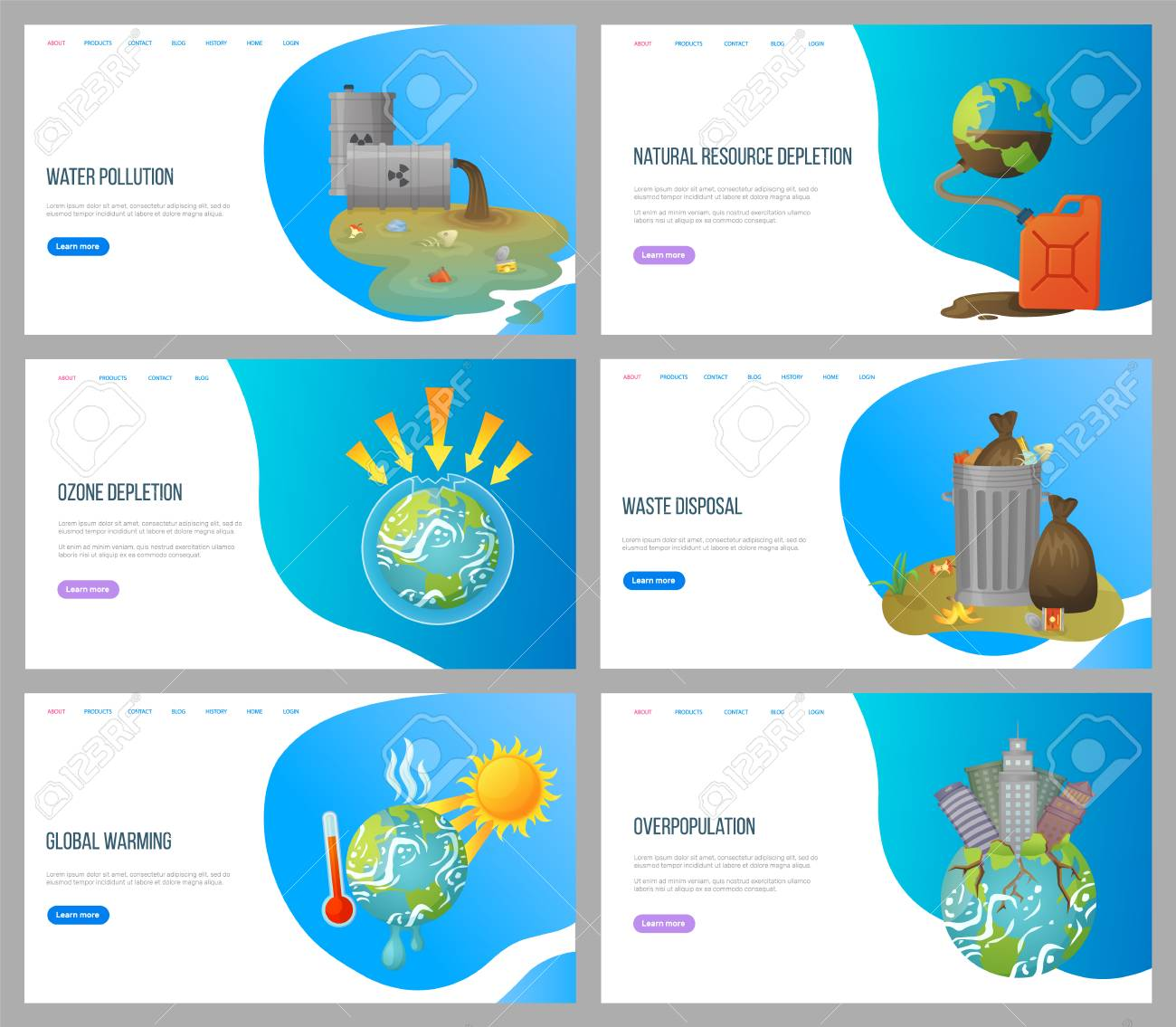 Global warming vector, environmental problems and ozone depletion, issues with plant, overpopulation and waste disposal, cans with trash. Website landing page flat style. Concept for Earth day - 123084563