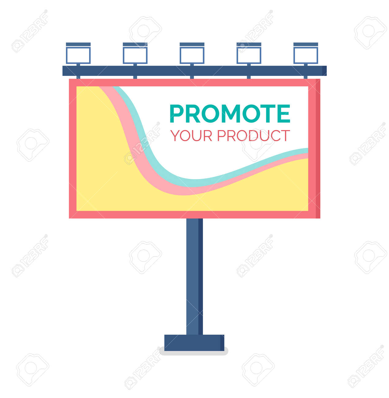 Billboard flat design, modern business concept for promoting product. Template for outdoor advertising, colorful large reclame, standing publicity vector - 123084576