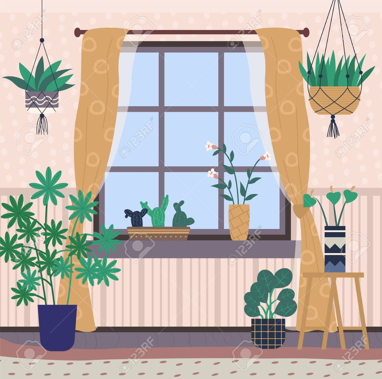 Magnificent Greenhouse With Plants On Shelves Vector Room Interior Filled Complete Home Design Collection Barbaintelli Responsecom