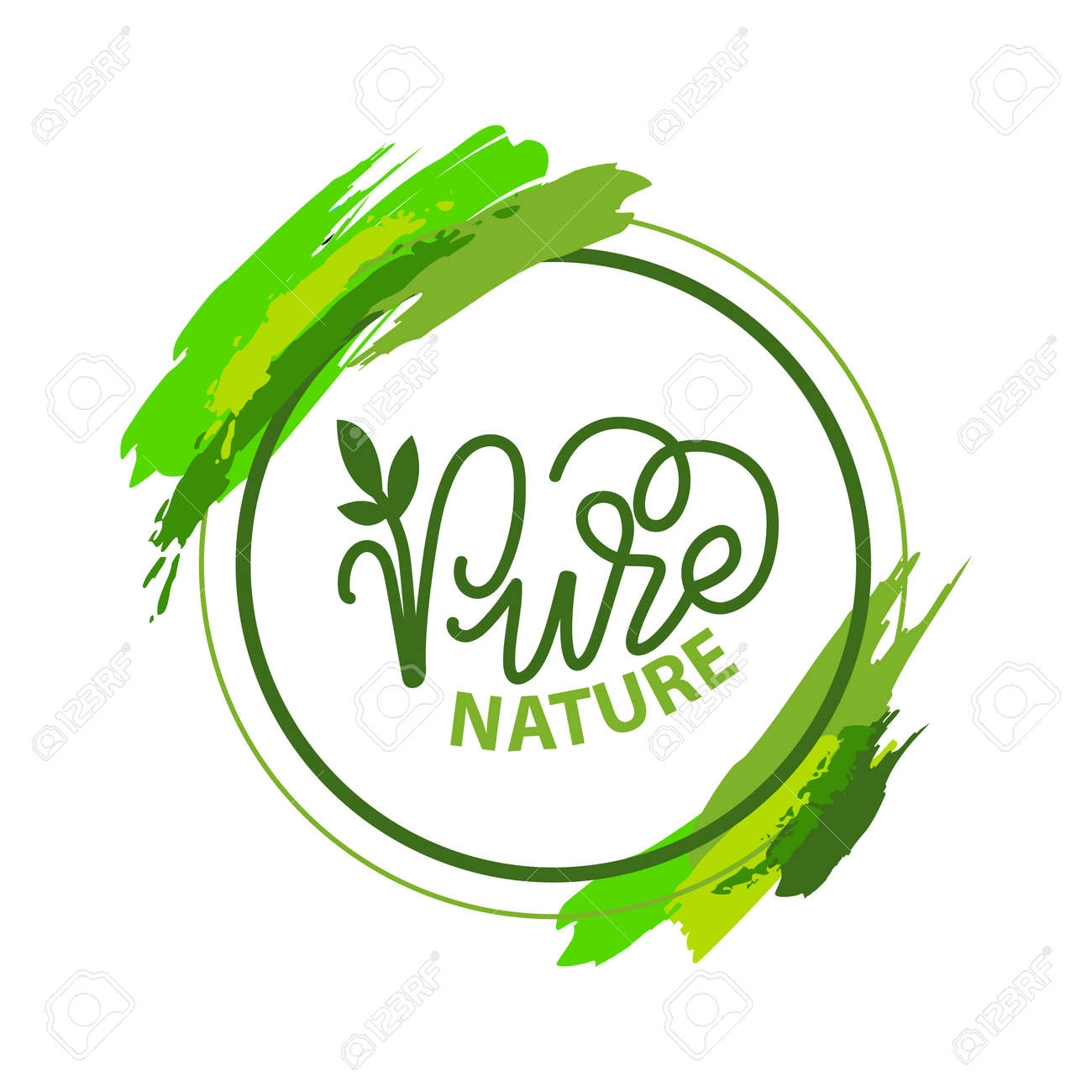 Pure nature lettering and green calligraphy, garden plant isolated in round frame with brush strokes. Vector label of ecology friendly nature - 125252678