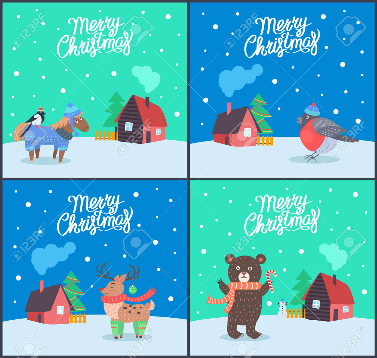 Merry Christmas Animals.Merry Christmas Animals Posters With Greeting Set Vector Bullfinch