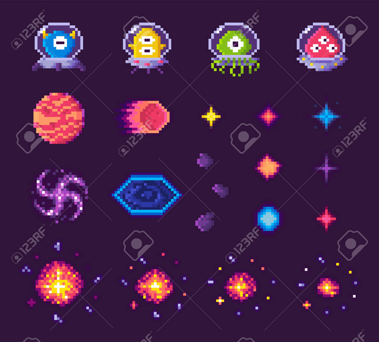 Pixel art game icons vector, 8 bit graphics of retro gaming,