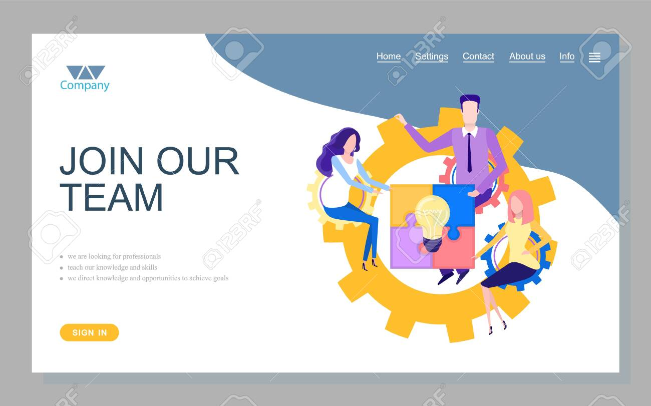 Company looking for professionals, teach knowledge and skills, direct knowledge and opportunities to achieve goals. Join our team online, teamwork vector. Website or webpage template, landing page - 131538374
