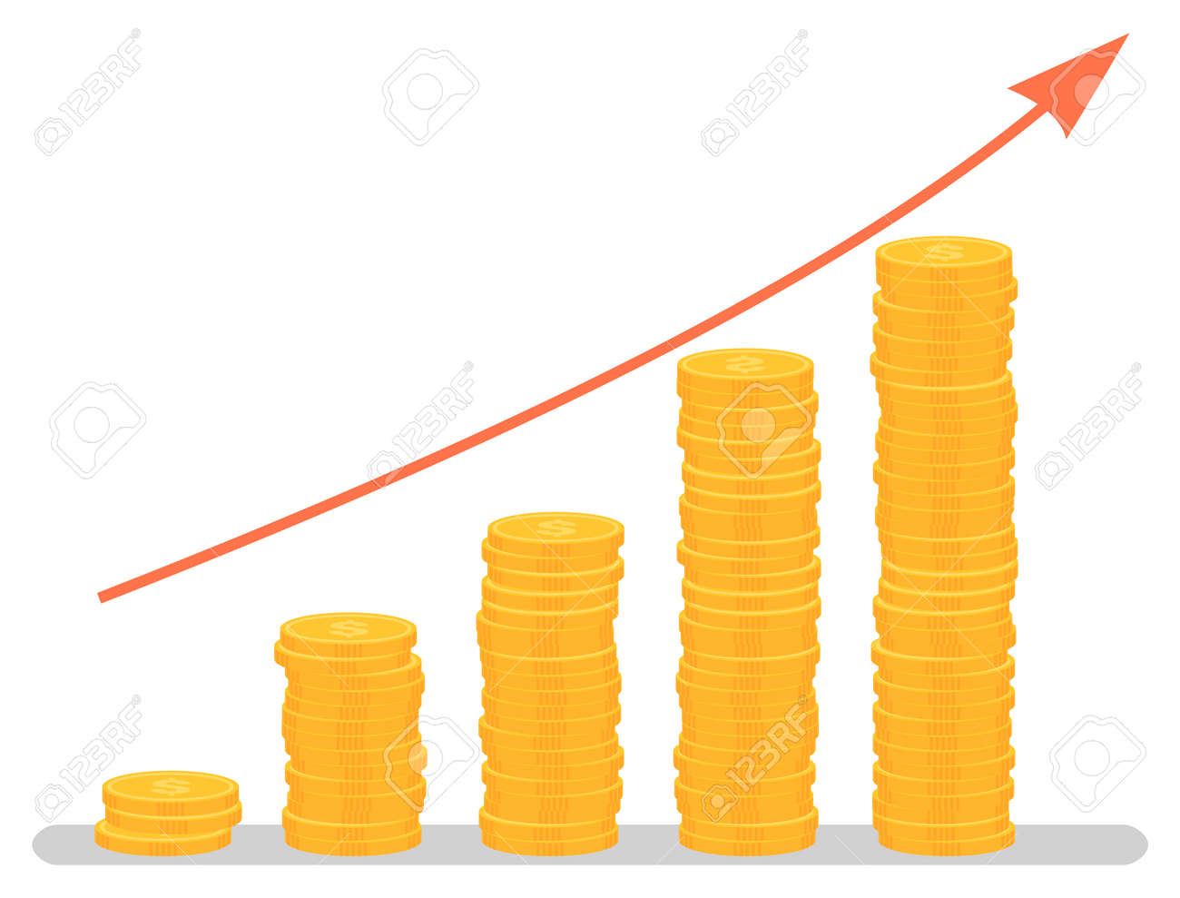 Profit increase graph, investment growth graphic. Coins stack and arrow, business and finance, development chart, banking and economy, statistics. Vector illustration in flat cartoon style - 132757733