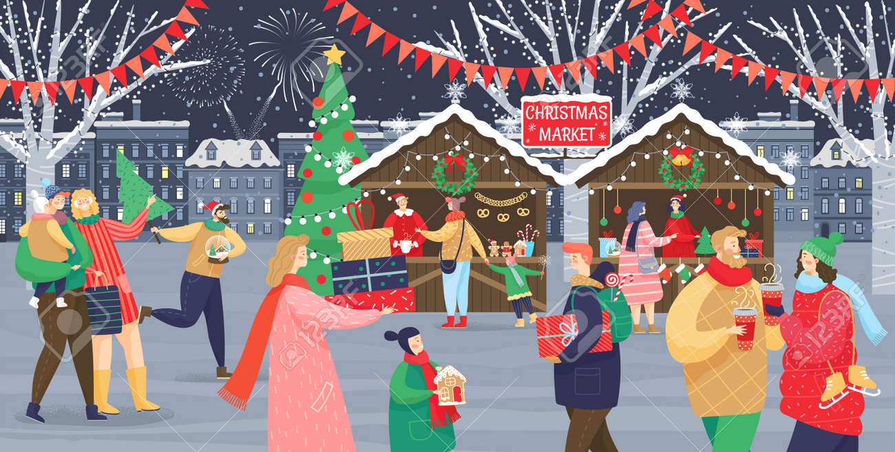 Christmas market vector, shops with souvenirs. Festive kids and adults, man and woman with children, streets with flags. People walking between decorated stalls or kiosks and having rest with family - 132900209