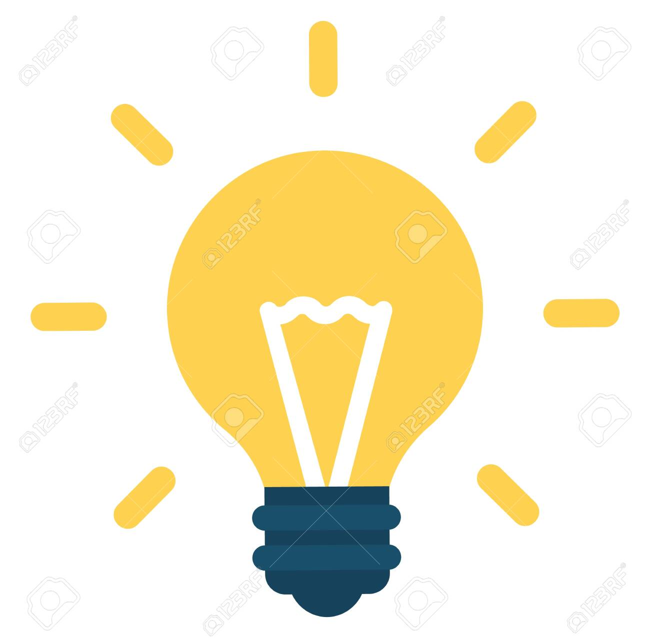 Light bulb icon vector on white background color. Yellow lightbulb solution idea and creativity symbol. Vector illustration for graphic and web design in flat cartoon style - 134063466