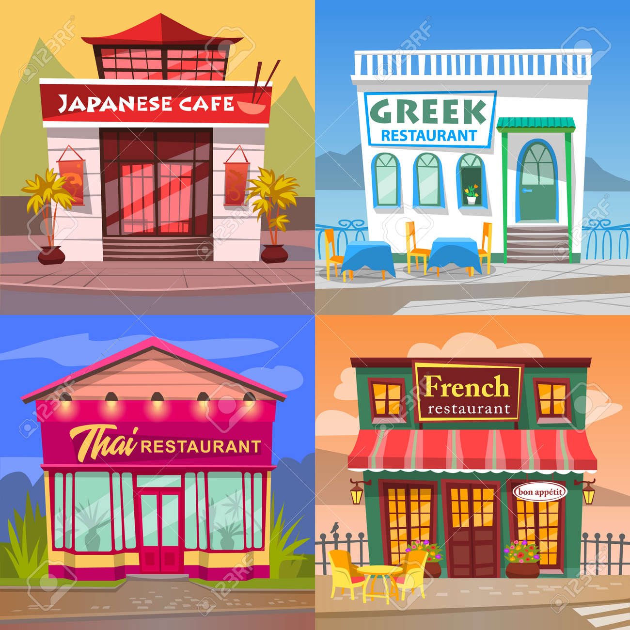 Thai And French Cuisine Vector Greek And Japanese Restaurant Royalty Free Cliparts Vectors And Stock Illustration Image 134066259