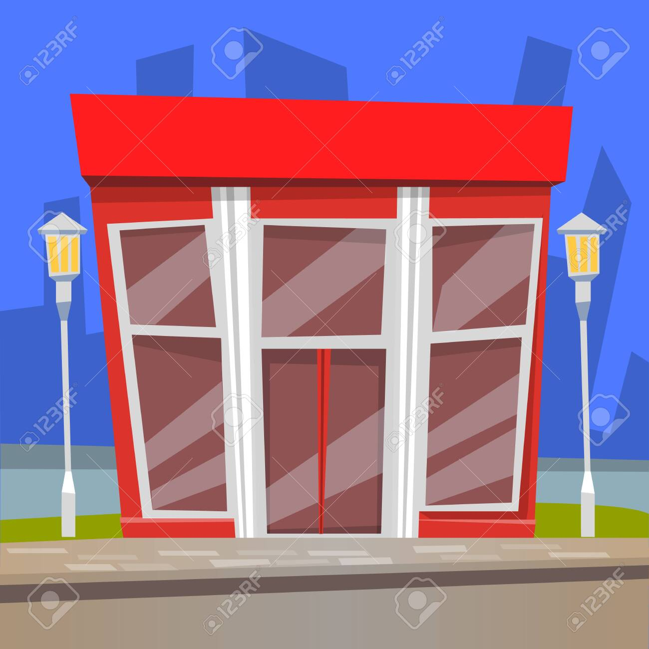 Cafe With Panoramic Windows In Red Color Restaurant Construction Royalty Free Cliparts Vectors And Stock Illustration Image 134307102