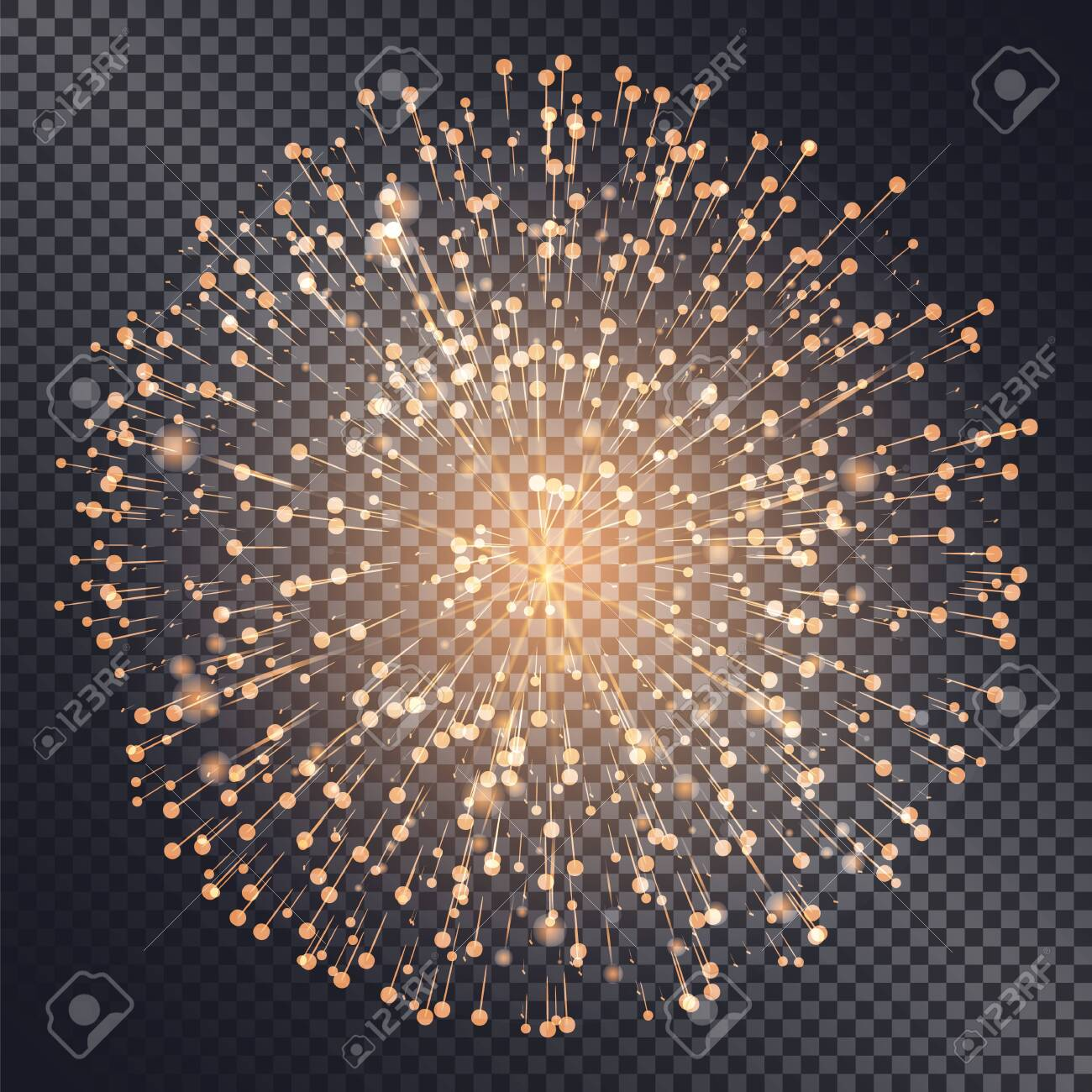 Firework sparkling with lights isolated on transparent background. Explosion for festival or festive moods. New Year celebration of holidays. Bright and shiny decoration. Vector in flat style - 134367234