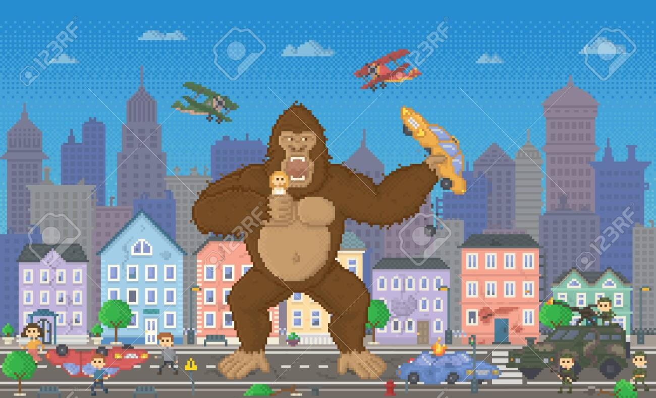 Pixel Art Game With Monster Eating Citizens And Cars 8 Bit Retro Royalty Free Cliparts Vectors And Stock Illustration Image 134368023