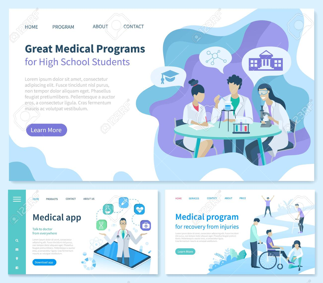 Medical program for recovery from injuries vector. Great High School students application, smartphone with possibilities. Medicine workers in gowns. Website or webpage template landing page flat style - 134867780