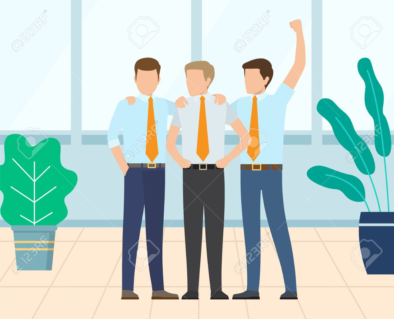 Group of people hugging each other, businessmen standing together, team celebration. Workers employee in suit embracing, teamwork success and win vector - 135237031