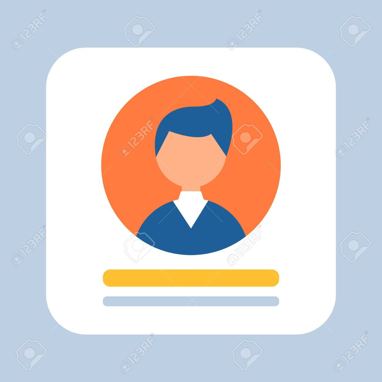 Business person represented on icon vector, businessman wearing formal suit, avatar of male working in various field, formalities squared banner flat style - 135704048