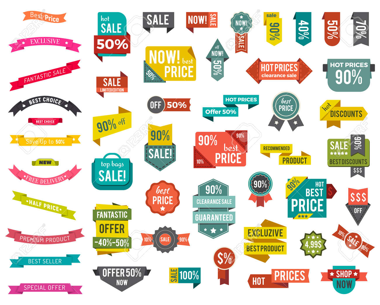 Set of colorful isolated labels with promotion caption. Big sale with best discounts and offers. Hot prices on clearance. Collection of advertising tags, icons. Vector illustration in flat style - 138827932