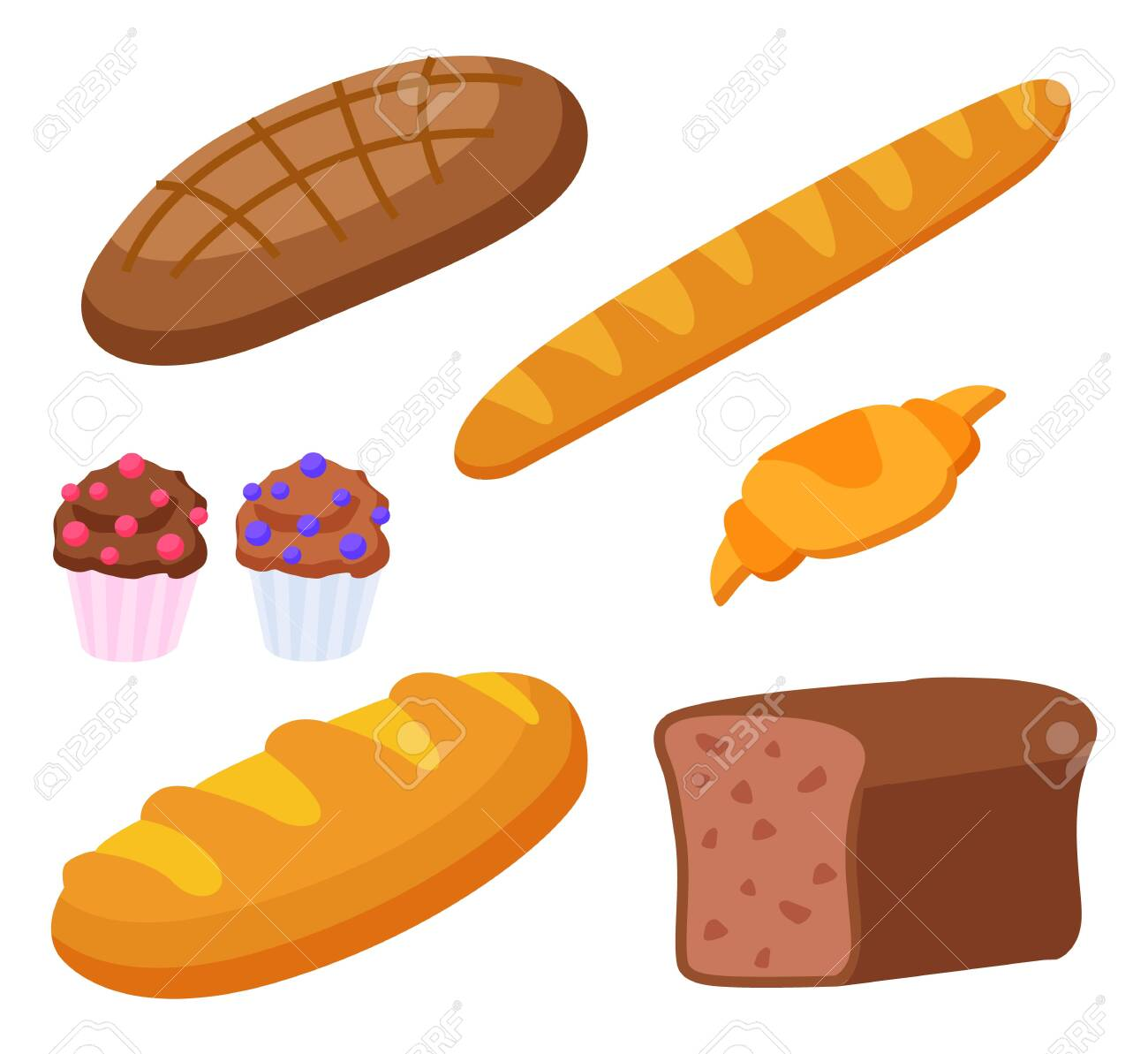 Set of products made of flour. Isolated baguette and croissant, french cuisine food. Rye bread and cupcakes with decorative topping. Dietary meal assortment of bakery. Flat style vector illustration - 139951035