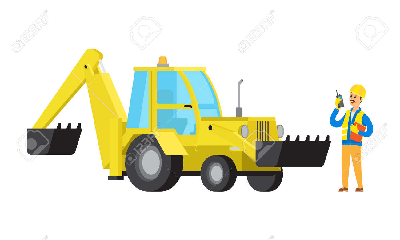 Person working as builder vector, man using walkie talkie leader of project supervising process of building, man and machinery excavator flat style - 142991469