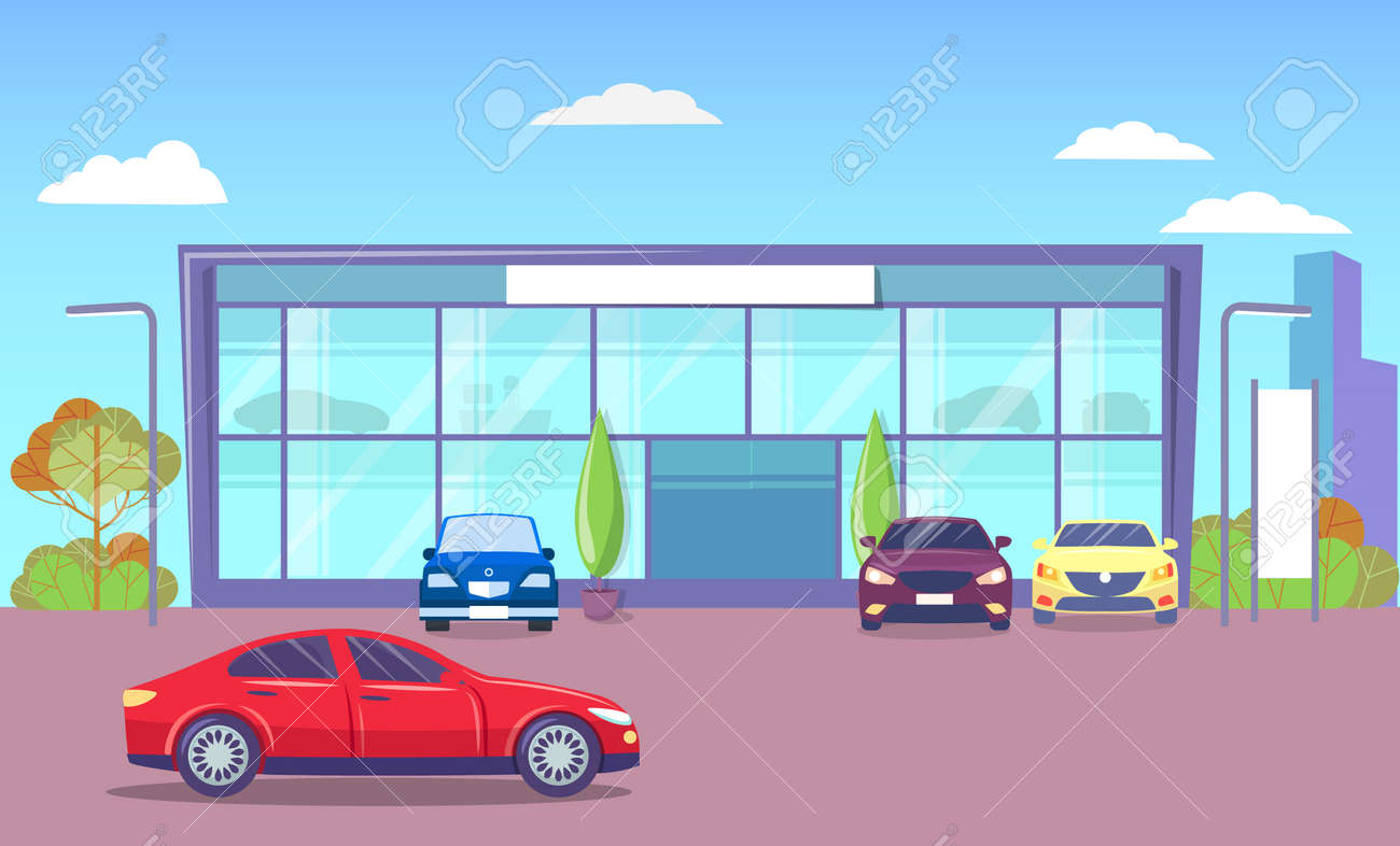 Office Exterior With Transport Parked By Headquarter Modern Royalty Free Cliparts Vectors And Stock Illustration Image 143640575