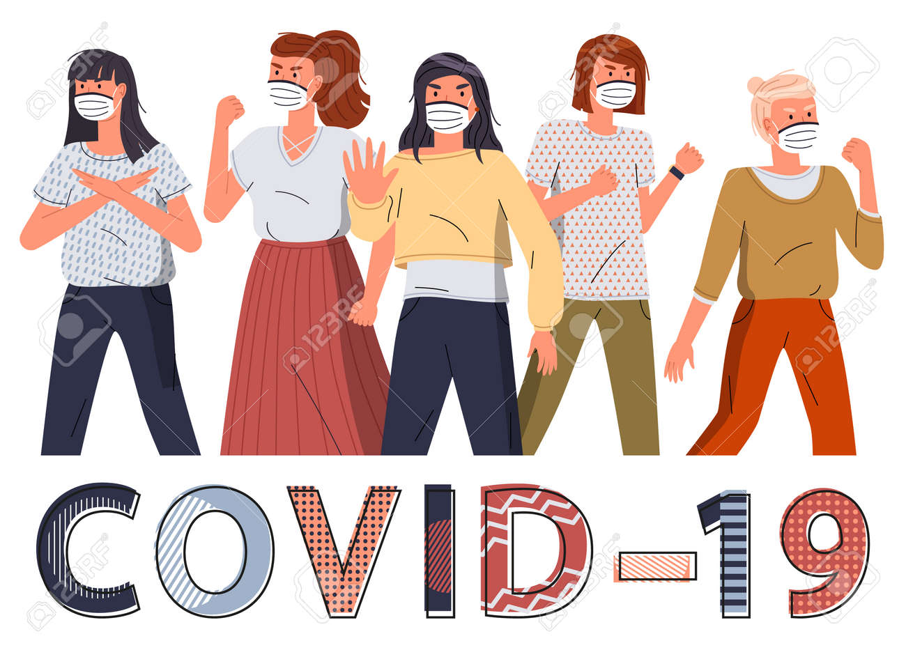 Crowd of women in face protective medical masks protesting against world epidemy. Group of characters call to stop spreading virus. Concept of covid-19. Stop gesture, cartoon vector characters - 146236226