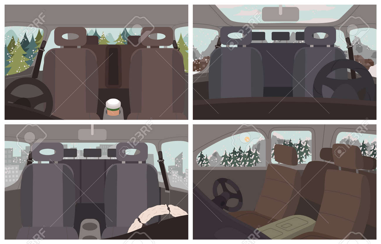 Black cars interiors, vehicles inside views. Empty automobile salon. Car cabin elements like seat for passengers, steering wheel. Trips and journey by auto. Winter landscapes and scenery vector - 147732979