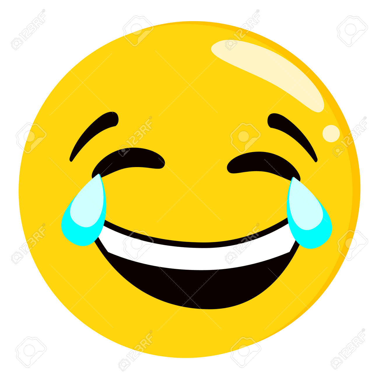 Yellow crying and laughing emoji isolated on white background. Emoticon or emoticon icon. Cute and funny round face expression smiling with tears for tex messages flat design vector illustration - 149385090